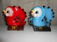 Vintage Lefton (?) Blue & Red Bird Wall Pockets Japan With Sticker from Brinn's