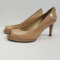 Stuart Weitzman Logoplainfield Pump Heel 8.5 M Beige Patent Leather Peep Toe