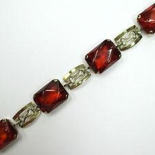 718 - Apartes Armband wohl um 1950 aus Gold 333 mit Bernstein  -1525-