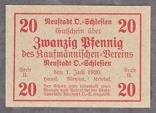 Neustadt Oberschlesien -Kaufmännischer Verein- 20 Pf-Schein vom 1.07.1920