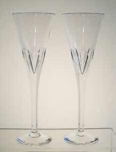 "SYMPHONY STUART CRYSTAL Champagne Flutes 9 1/8"" PAIR, Imperfect, Local Pick Up"