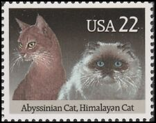 Us 2373 American Cats Abyssinian & Himalayan 22c single (1 stamp) Mnh 1988