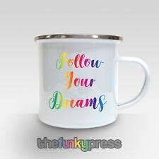 Sigue tus sueños Arco Iris Esmalte de texto Taza Taza Té Café Regalo De Cumpleaños