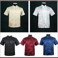 Men/New Arrival Shirt Chinese Tradition Style Dragon Kung Fu Short Sleeve Shirts