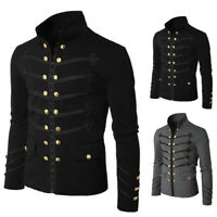 Mens Gothic Rock  Renaissance Medieval Cosplay Costume Coat Uniform Outwear