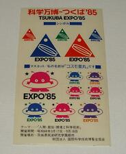 ORIG 1985 TSUKUBA EXPO'85 JAPAN WORLDS FAIR EXPOSITION COSMO CLEAR STICKER SHEET