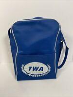 Vintage TWA Bag - Trans World Airlines Rare Travel Bag - Blue Chip Mini Carry