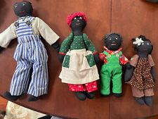 Vintage Family Of Four Handmade Black Americana Folk Art Soft Dolls Dad Mom Kids