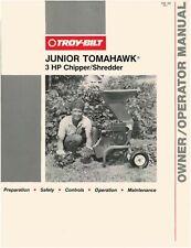 1989 Troy Bilt/Garden Way Junior Tomahawk 3Hp Chipper Operator Maint Manual