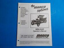 1990 Manco Machine Offroad Vehicle Mini-Kar Operators Manual