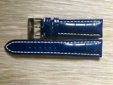 New Genuine Breitling 746P 24mm Blue Croco Alligator Leather Strap & Buckle