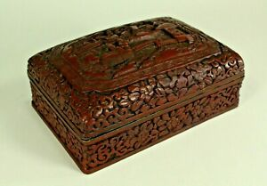 = Antique ea.1800's Carved Dark Red Cinnabar Box Chinese Domestic Scene