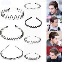 Men's Women Sports Wave Hair Band Metal Black Hairband Headband Aliceband Unisex