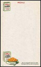 Vintage menu KELLOGGS CORN FLAKES All Bran cereal boxes pictured unused n-mint+