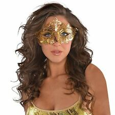 Gold Venetian Style Metal Mask Filigree Masquerade Ball Prom Party Carnival Eye