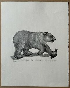 Dale DeArmond Wood Engraving - Polar Bear with Fish - 1985 Limited Edition Print