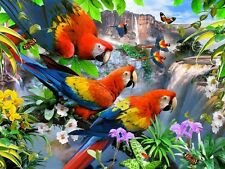 3D FOTO ARTE PAPPAGALLI ARA Farfalle a cascata 39 x 29 CM CIRCA NUOVO
