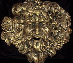 BACCHUS FACE WALL PLAQUE GOD DIONYSUS GREEK GOTH 10023