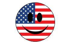 SMILEY FACE STICKER WITH USA / UNITED STATES FLAG STICKER X 6 - Various Sizes