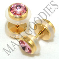 0299 Fake Cheaters Faux Illusion Plugs 16G Look 0G 8mm Steel Gold Pink CZ Ear