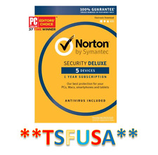 Symantec Norton Security Deluxe 5 Devices PCs Mac IOS Android CARD 1 Year 2017