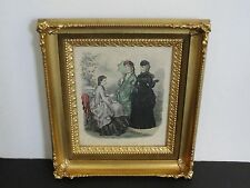 "FRENCHLADIES FASHION 1871 ""LA MODE ILLUSTREE"" PARIS-Hand Colored Print-Framed."
