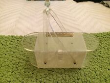 VINTAGE ART DECO CLEAR & TRANSLUCENT LUCITE PURSE WITH MOTHER OF PEARL
