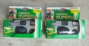 2x Fujifilm Quicksnap Superia ISO 800/30 27 Exp | Unopened Disposable Cameras