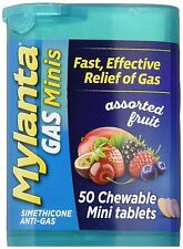 Mylanta Gas Minis Assorted Fruit 50 Chewable Mini Tablets, Fast Relief of Gas