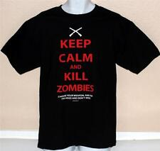 ZOMBIE Keep Calm and Kill Zombies Mens BLACK COTTON Short Sleeve T SHIRT L New