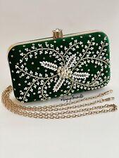 Bejeweled Green Velvet Clutch Crystal Beads Pearls Minaudière Evening Bag Formal