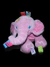 Kids II Taggies Pink Plush Elephant Stuffed Baby Toy Lovey Rattle Flowers