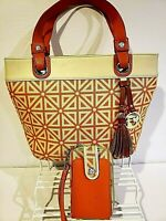 Spartina 449 Tote Bag and Wristlet Wallet Daufuskie Island Linen Leather Orange