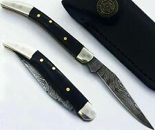 Toothpick Handmade Damascus Pocket Folding Knife buffalo horn Handle(AS 111ST)