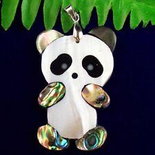 53x30x3mm Natural Carved Abalone Shell Panda Pendant Bead SH993