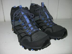 MERRELL Women's Moab FST 2 Waterproof Mid Black/Granite Leather Trail Boot Sz 11