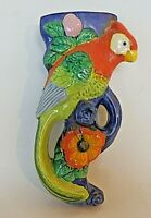 Vintage Ceramic Tropical Bird Wall Pocket 9 Inches Made in Japan Planter Vase