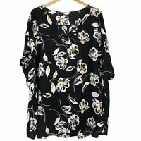 MAURICES Plus Size Black White Mustard Floral Strappy Short Sleeve Blouse Top 4X