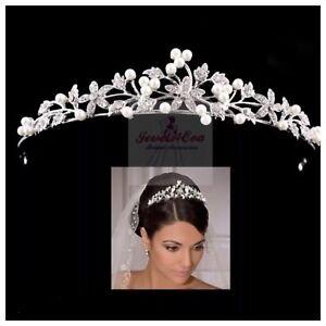 Bridal Wedding Tiara, Headband, Crystal Pearls, With Tiara Box