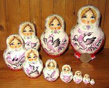 Auténticas muñecas-caja Rusas 10 WHITE matrioska rojos Aves Marchenko Firmado