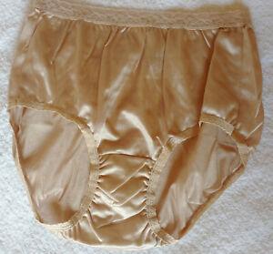 Almond Vintage Style Nylon Full Panties Brief Knickers M - UK 12 - US 7