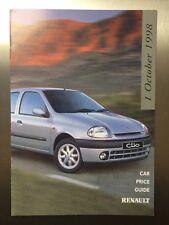 98 Renault Price List Brochure – Clio, Megane, Scenic, Laguna, Espace, Safrane