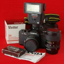 COSINA CT-1A 35mm FILM SLR CAMERA OUTFIT INC 3 LENSES (P/K MOUNT) FLASH CASE ETC