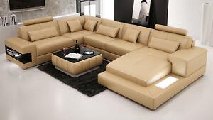 Modern Large LEATHER SOFA Corner Suite NEW Sandbeige Grey White