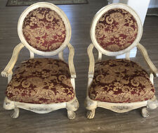 PAIR Of 2 SCHANDIG Gold And Red Upholstered Armchairs Exceptional Condition!!!