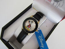 "Disney Mickey Mouse Woman""s Girls Leather Watch With Faux Ceramic Bezel MCK537"