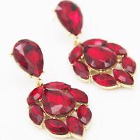 Handmade Red Crystal Ear Drop Dangle Stud Ancient Gold long Tassels Earrings