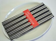 Antiskid Durable Stainless Steel Chopsticks Gift 5 Pairs Deluxe Kit 08