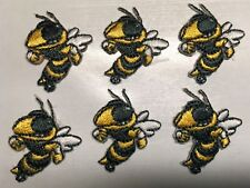 "georgia tech patch yellow jacket bee patches iron on 1"" x 1"" lot of 6 pcs."
