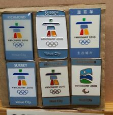 LOT OF 6 2010 VANCOUVER VENUE OR HOST CITY OLYMPIC WINTER GAMES PIN